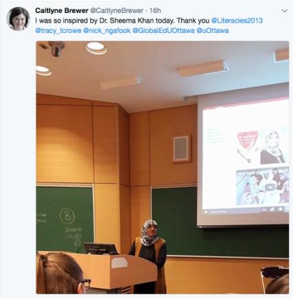 Caitlyne Brewer tweet orientation Sheema Khan